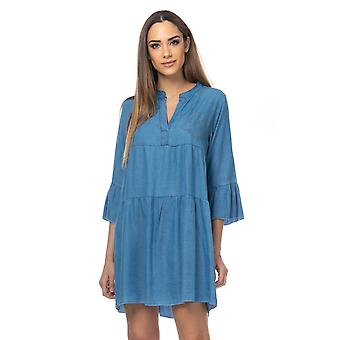 Oversized denim flared dress with strass detail on the chest