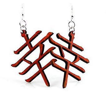 Kanji Symbols Luck & Happiness Earrings