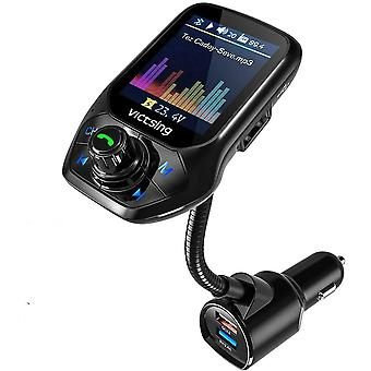 "FM Transmitter Car, (Auto Frequency Tuning) 1.8"" Color Screen Bluetooth"
