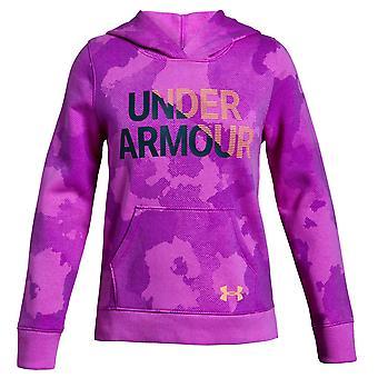 Under Armour Rival Fleece Wordmark Overhead Girls Kids Hoodie Jacket Pink