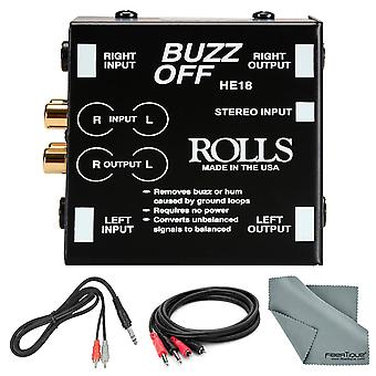 Rolls he18 buzz off dual channel hum & buzz remover and accessory bundle w cables + fiberique cleaning cloth
