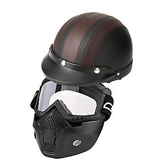Mortorcycle Maske abnehmbare Brille und Mundfilter + offenes Gesicht halb Lederhelm mit Vision uv 54-60cm