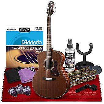 Walden g551e natura grand auditorium acoustic-electric guitar with solid mahogany top, rosewood fingerboard  bundle includes gig bag, ps33831