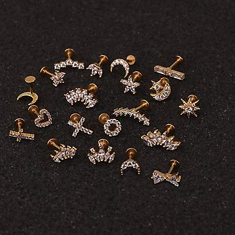 16g Cross Heart Flower Crown Ear Studs