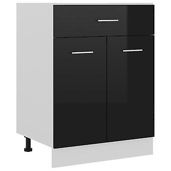 Drawer Bottom Cabinet High Gloss Black 60x46x81.5 Cm Chipboard