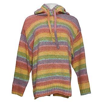 G.I.L.I. Women's Sweater Rainbow Hoodie w/ Stripes Green Purple A388613