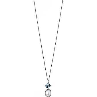 Collana di perle Adriana con pendente zirconia turchese catena di ancoraggio argento 50 cm S5-T