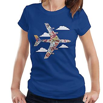 Pan Am Plane Etiquetas de equipaje camiseta de mujeres