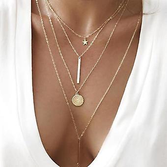 Bohemia-round, Pentagram Layered Necklace