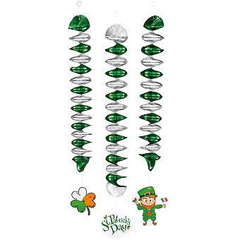 3 Spiraal hangende decoraties 60 cm Saint Patrick