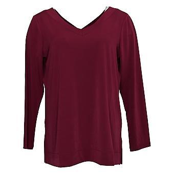 Susan Graver Women's Petite Top Modern Liquid Knit V-Neck Red A387747