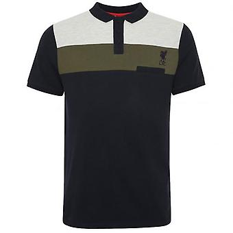 Liverpool Colour Block Polo Mens Navy M