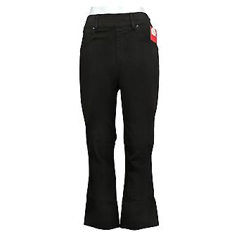 Spanx Women's Jeans Black Wash Cropped Flare Jeans Black A368928