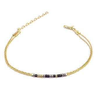 Benava, women's friendship bracelet, minimalist, multiwire with Seed Bead Gold glass beads 15-19 cm, adjustable Ref. 4744999040475