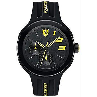 Unisex silicona negro cuarzo analógico Pulsera con detalles amarillos, Scuderia Ferrari 830224