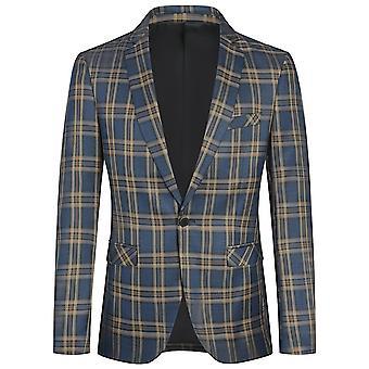 YANGFAN Men's Plaid Suit Jackets One Button Blazers