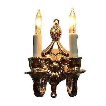 Dolls House Fancy Victorian Double Candle Wall Sconce Gold 12v Lumière électrique