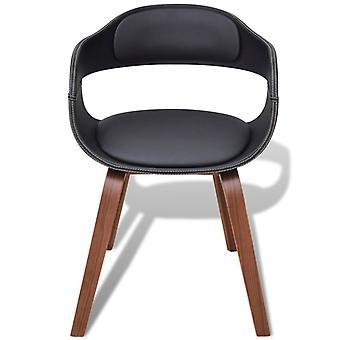 vidaXL sillas de comedor 4 piezas. Madera doblada negra y cuero imitación