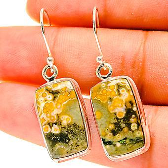 """Ocean Jasper Earrings 1 1/2"""" (925 Sterling Silver)  - Handmade Boho Vintage Jewelry EARR417132"""