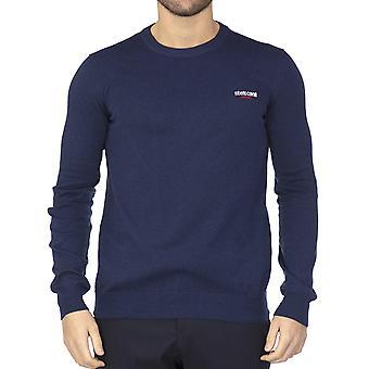 Roberto Cavalli Sport Men Pullover cuello de la tripulación azul