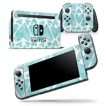 Green Watercolor Hearts Pattern - Skin Wrap Decal For Nintendo Switch