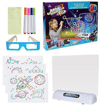 Espace 3D planche à dessin fluorescente pour enfants jeu led planche à dessin coloré clignotant tableau de graffiti océan espace dinosaure az11610
