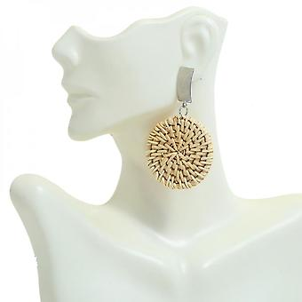 Natural Rattan Round Medallion With Metal Handmade Drop Earrings