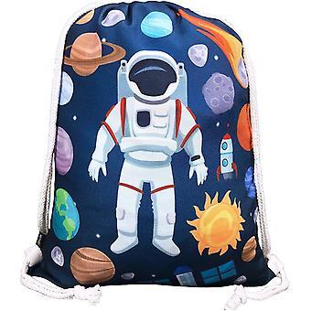 Kinder Turnbeutel mit Astronaut Weltraum Motiven Unisex   Kindergarten, Krippe, Reise, Sport  