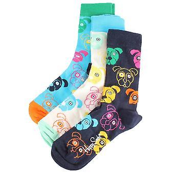Happy Socks 3 Pack Mixed Dog Presentbox Strumpor - White/Navy/SkyBlue