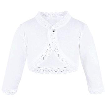 Lilax Baby Girls' Knit Long Sleeve Button Closure Bolero Cardigan Shrug 3-6 Months White