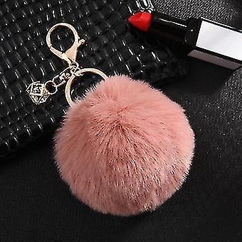 Fluffy and soft nordic style rabbit pompom trinket keychains(Skin Pink)