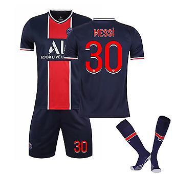 Messi #30 Jersey 2021-2022 Nouvelle Saison Enfants Garçons Paris Soccer T-shirts Jersey Set Kit Youth Tailles