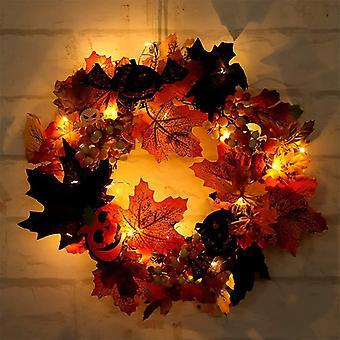 Jesienny wieniec, sztuczny jesienny wieniec, świąteczny wieniec z dyń, szyszki sosnowe, liście klonu i jagody