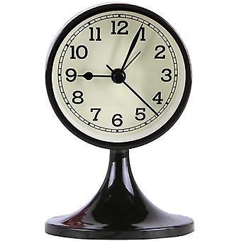 "3"" Alarm Clock Round Quartz Analog Desk Clock Vintage Silent Non Ticking Battery Operated For Bedroom Black"