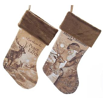 Kurt Adler Santa and Woodland Deer Peace Merry  Holiday Linen Stockings Set of 2