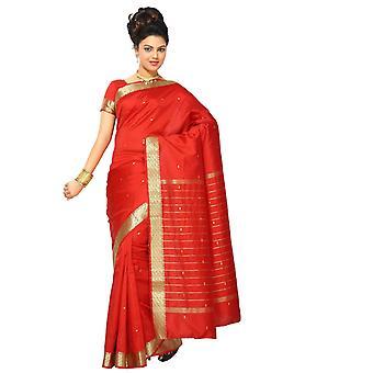 Würzige rote Kunst Seide Sari Sari Stoff Indien goldene Grenze
