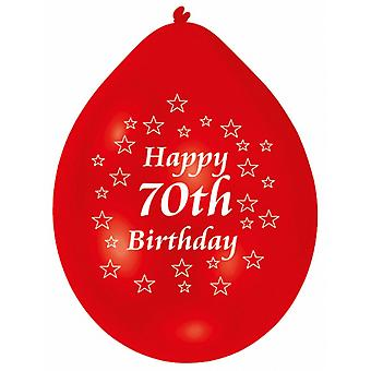 Amscan Happy 70th Birthday Multicoloured Party Balloons (Pack Of 10)