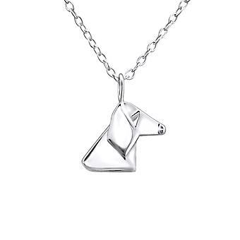 أوريغامي الكلب-925 الاسترليني فضة عادي قلادات-W26046x