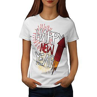 Firework Festive New Women WhiteT-shirt | Wellcoda
