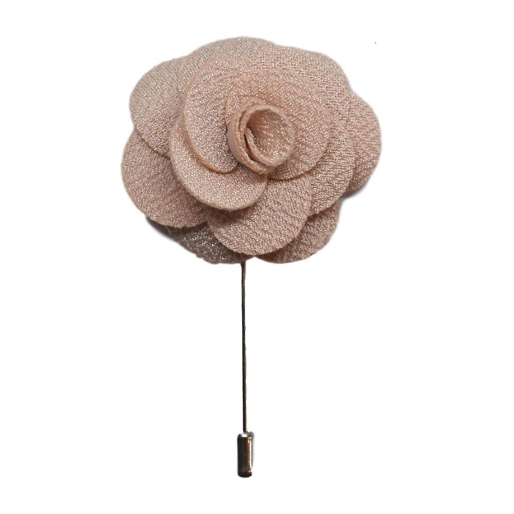 Beige Handmade Flower/Rose Lapel Pin for wearing with men's suit jacket, blazer, dinner jacket or tuxedo jacket
