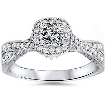 3/4CT Princess Cut Vintage Diamond Engagement Ring 14K White Gold