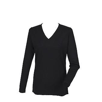 Henbury Womens  Cashmere Touch Acrylic V-Neck Jumper