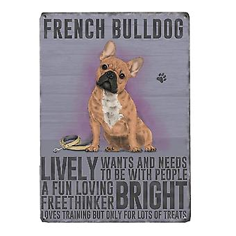 Medium Wall Plaque 200mm x 150mm - French Bulldog by The Original Metal Sign Co
