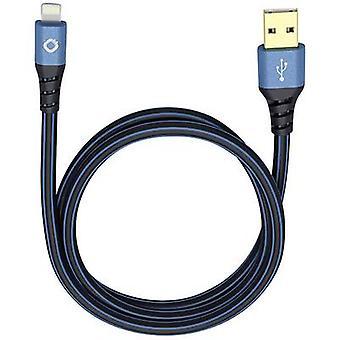 iPad / iPhone / iPod Datakabel / lader bly [1x USB 2.0 kontakt A - 1x Apple Dock lynplugg] 0,50 m blå, svart Oehlbach USB Plus LI