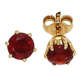 Garnet Earrings 585 Gold Yellow Gold 2 grenade red earrings gold gemstone earrings