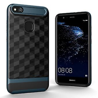 Hülle für Huawei P10 Lite Backcover Case Handy Schutzhülle - Cover 3D Prisma Design Navy Blau