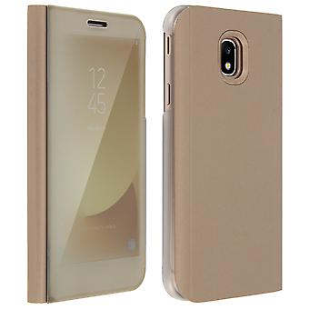 Flip Case, Mirror Case for Samsung Galaxy J3 2017, Standing Cover - Gold