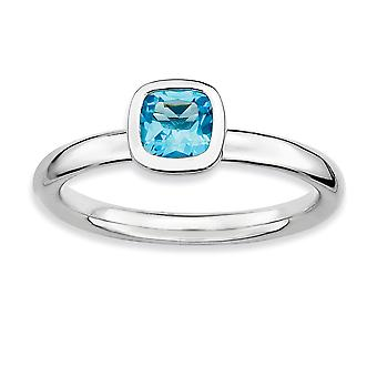 925 Sterling Silver Bezel Polished Rhodium plated Stackable Expressions Cushion Cut Blue Topaz Ring Jewelry Gifts for Wo