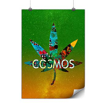 Matte or Glossy Poster with Cosmos Weed Leaf Rasta   Wellcoda   *y546