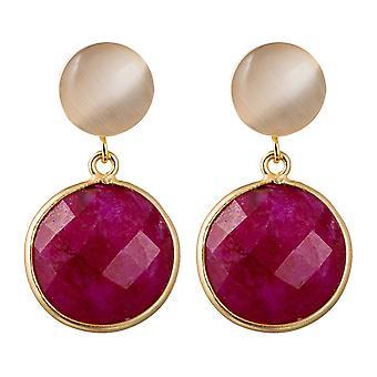 Gemshine senhoras brincos vermelho rubi rosa quartzo pedras preciosas. 925 prateado